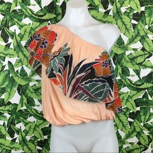 Free People Annka Peach Floral One Shoulder Top